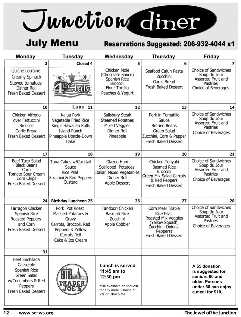 Senior Center of West Seattle- July 2017 Menu