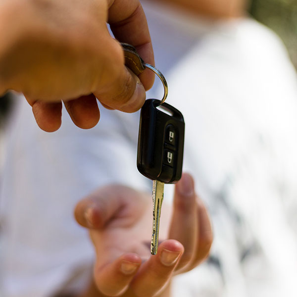 Handing over the keys to a car